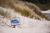 'Give the plants a chance' conservation sign at Rarawa Beach in Northland Region, North Island, New Zealand