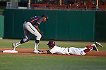 May 23, 2015; Stockton, CA, USA; Loyola Marymount Lions outfielder Austin Miller (8) slides into second base against Pepperdine Waves infielder Manny Jefferson (5) during the championship game in the WCC Baseball Championship at Banner Island Ballpark.