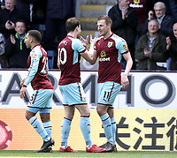 Burnley's Ashley Barnes (left) celebrates Chris Wood's opening goal <br /> <br /> Photographer Rich Linley/CameraSport<br /> <br /> The Premier League - Burnley v Leicester City - Saturday 14th April 2018 - Turf Moor - Burnley<br /> <br /> World Copyright &copy; 2018 CameraSport. All rights reserved. 43 Linden Ave. Countesthorpe. Leicester. England. LE8 5PG - Tel: +44 (0) 116 277 4147 - admin@camerasport.com - www.camerasport.com