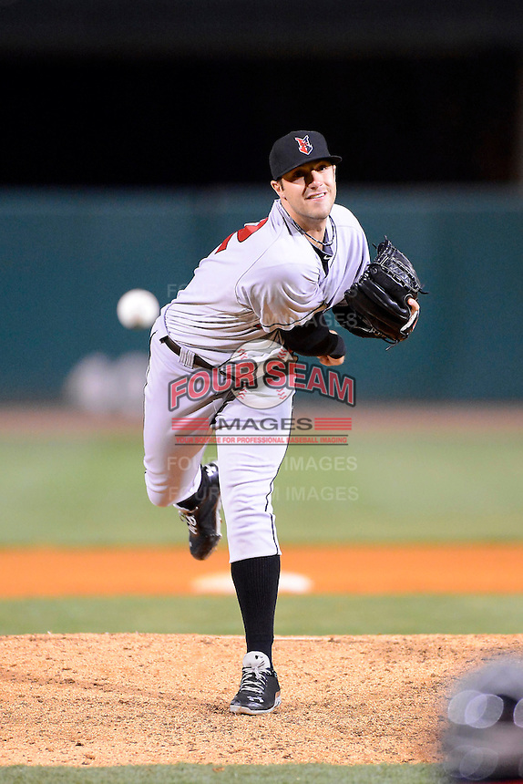 Indianapolis Indians pitcher Duke Welker #32 during a game against the Louisville Bats on April 19, 2013 at Louisville Slugger Field in Louisville, Kentucky.  Indianapolis defeated Louisville 4-1.  (Mike Janes/Four Seam Images)