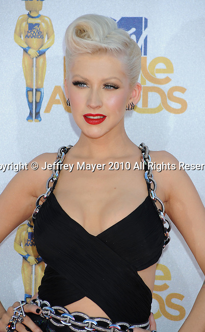 UNIVERSAL CITY, CA. - June 06: Christina Aguilera arrives at the 2010 MTV Movie Awards at Gibson Amphitheatre on June 6, 2010 in Universal City, California.