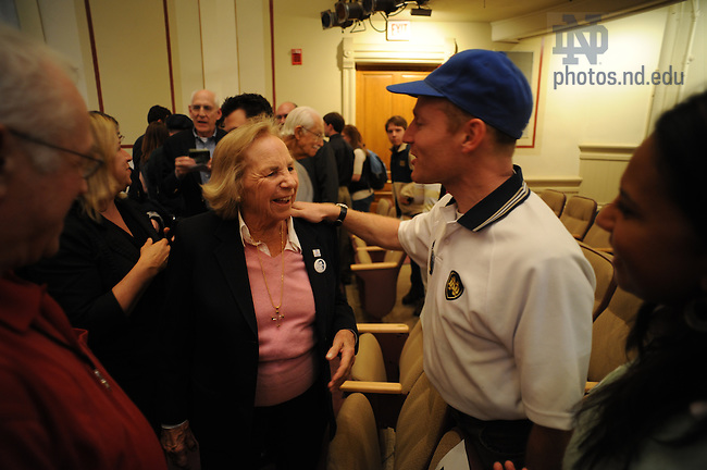 Ethel Kennedy visits with the public at Washington Hall.