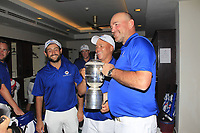 Thomas Bjorn (Team Captain) with the Eurasia Cup after Team Europe overcame Asia 14/10 at Glenmarie Golf and Country Club on the Sunday 14th January 2018.<br /> Picture:  Thos Caffrey / www.golffile.ie