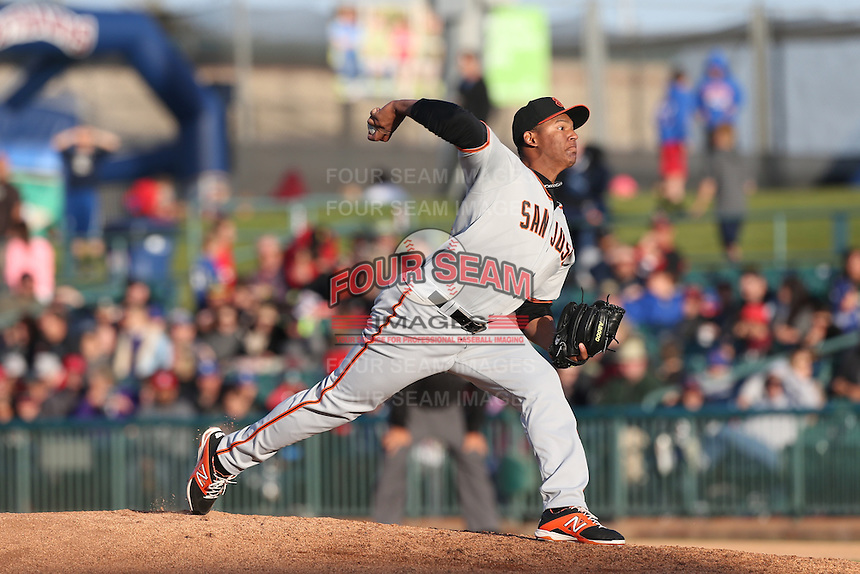 Keury Mella (34) of the San Jose Giants pitches during a game against the Lancaster JetHawks at The Hanger on April 11, 2015 in Lancaster, California. San Jose defeated Lancaster, 8-3. (Larry Goren/Four Seam Images)