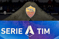 AS Roma logo and Serie A Banner <br /> Roma 27-10-2019 Stadio Olimpico <br /> Football Serie A 2019/2020 <br /> AS Roma - AC Milan<br /> Foto Andrea Staccioli / Insidefoto
