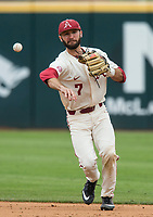 NWA Democrat-Gazette/BEN GOFF @NWABENGOFF<br /> Jack Kenley, Arkansas second baseman, fields a ground ball in the 6th inning vs LSU Saturday, May 11, 2019, at Baum-Walker Stadium in Fayetteville.