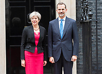 King Felipe VI of Spain visits No. 10 Downing Street to meet Prime Minister Theresa May. London, UK. 13/07/2017  Credit: Ik Aldama/DPA/MediaPunch ***FOR USA ONLY***