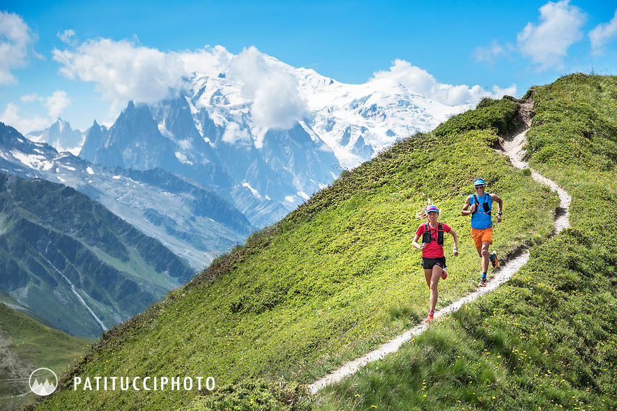 Trail running near the Col de Balme on the Swiss and French borders, between Trient, Switzerland and Chamonix, France, with Mont Blanc in the distance.