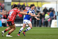 Freddie Burns of Bath Rugby passes the ball. Gallagher Premiership match, between Gloucester Rugby and Bath Rugby on April 13, 2019 at Kingsholm Stadium in Gloucester, England. Photo by: Patrick Khachfe / Onside Images