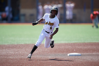 West Virginia Black Bears Victor Ngoepe (6) running the bases during a NY-Penn League game against the Batavia Muckdogs on August 29, 2019 at Monongalia County Ballpark in Morgantown, New York.  West Virginia defeated Batavia 5-4 in ten innings.  (Mike Janes/Four Seam Images)