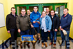 L-R Declan Dowling, KGS manager, Kevin Griffin, Tom Kennedy&David Galvin, Lixnaw owners of ' Galken ' who won the Bobby Hickson memorial final at Kingdom Greyhound Stadium, Tralee last Saturday night, Robert Hickson, Pajoe Flahive, Jim Prenderville and Chris Hickson.