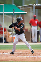 GCL Marlins left fielder Rosandel Reyna (1) at bat during the second game of a doubleheader against the GCL Nationals on July 23, 2017 at Roger Dean Stadium Complex in Jupiter, Florida.  GCL Nationals defeated the GCL Marlins 1-0.  (Mike Janes/Four Seam Images)