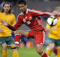 MELBOURNE, AUSTRALIA - OCTOBER 14: Amad Al Hosni from Oman kicks the ball away in a AFC Asian Cup 2011 match between Australia and Oman at Etihad Stadium on October 14, 2009 in Melbourne, Australia. Photo Sydney Low www.syd-low.com
