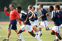 New England Revolution assistant coach Paul Mariner leads the team in warmup drills. The New England Revolution (MLS) defeated Crystal Palace FC USA of Baltimore (USL2) 5-3 in penalty kicks after finishing regulation and overtime tied at 1-1 during a Lamar Hunt US Open Cup quarterfinal match at Veterans Stadium in New Britain, CT, on July 8, 2008.
