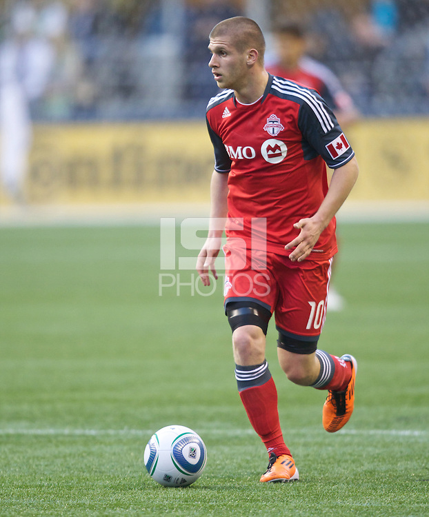 Toronto FC midfielder Alen Stevanovic takes the ball up field during play against the Seattle Sounders FC at Qwest Field in Seattle Saturday April 30, 2011. The Sounders won the game 3-0.