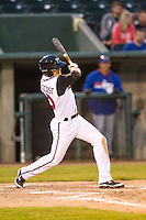 Lansing Lugnuts designated hitter Max Pentecost (10) follows through on his swing to hit the first home run of his professional career against the South Bend Cubs on May 12, 2016 at Cooley Law School Stadium in Lansing, Michigan. Lansing defeated South Bend 5-0. (Andrew Woolley/Four Seam Images)