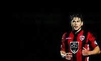 Goalscorer Shaun Miller of Morecambe during the Sky Bet League 2 match between Wycombe Wanderers and Morecambe at Adams Park, High Wycombe, England on 2 January 2016. Photo by Andy Rowland / PRiME Media Images