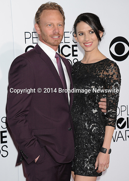 Pictured: Erin Kristine Ludwig, Ian Ziering<br /> Mandatory Credit &copy; Gilbert Flores /Broadimage<br /> 2014 People's Choice Awards <br /> <br /> 1/8/14, Los Angeles, California, United States of America<br /> Reference: 010814_GFLA_BDG_291<br /> <br /> Broadimage Newswire<br /> Los Angeles 1+  (310) 301-1027<br /> New York      1+  (646) 827-9134<br /> sales@broadimage.com<br /> http://www.broadimage.com