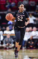 College Park, MD - NOV 13, 2017: South Carolina Gamecocks guard Tyasha Harris (52) brings the ball up court during game between No. 4 ranked South Carolina and the No. 15 Maryland Terrapins at the XFINITY Center in College Park, MD. The Gamecocks defeated Maryland 94-86.  (Photo by Phil Peters/Media Images International)