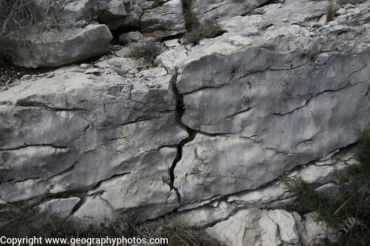 Weathering of carboniferous limestone joints and bedding planes, Vall de Laguar,  Marina Alta, Alicante province, Spain