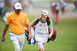 Jeev Milkha Singh of India and his caddie walk during Hong Kong Open golf tournament at the Fanling golf course on 25 October 2015 in Hong Kong, China. Photo by Xaume Olleros / Power Sport Images