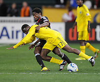 DC United midfielder Clyde Simms (19) fouls Columbus Crew midfielder Emmanuel Ekpo (17)  DC United defeated The Columbus Crew 3-1 at the home season opener, at RFK Stadium, Saturday March 19, 2011.