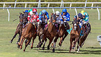 HALLANDALE BEACH, FL - JAN 27:Oscar Nominated #7 with Irad Ortiz Jr. (red/white) in the irons for trainer Michael J. Maker leads the field along the final turn before winning the $200,000 W.L. McKnight Stakes (G2) at Gulfstream Park on January 27, 2018 in Hallandale Beach, Florida. (Photo by Bob Aaron/Eclipse Sportswire/Getty Images)