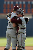 Michael Wacha #38 is greeted by Troy Stein #6 of the Texas A&M Aggies after pitching a shutout against the Pepperdine Waves at Eddy D. Field Stadium on March 23, 2012 in Malibu,California. Texas A&M defeated Pepperdine 4-0.(Larry Goren/Four Seam Images)