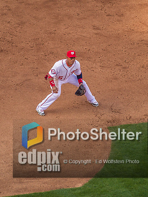 6 April 2015: Washington Nationals infielder Yunel Escobar in action during the Home Opening Game against the New York Mets at Nationals Park in Washington, DC. The Mets rallied to defeat the Nationals 3-1 in their first meeting of the 2015 MLB season. Mandatory Credit: Ed Wolfstein Photo *** RAW (NEF) Image File Available ***