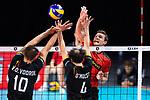 14.09.2019, Paleis 12, BrŸssel / Bruessel<br />Volleyball, Europameisterschaft, Deutschland (GER) vs. Belgien (BEL)<br /><br />Block / Doppelblock Simon van de Voorde (#10 BEL), Stijn D'hulst (#4 BEL) - Angriff Christian Fromm (#1 GER)<br /><br />  Foto © nordphoto / Kurth