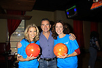 Guiding Light Jennifer Roszell poses with Sonia Satra and Kurt McKinney at 9th Annual Daytime Stars & Strikes Charity Event to benefit The American Cancer Society on October 7, 2012 at Bowlmor Lanes Times Square, New York City, New York.  (Photo by Sue Coflin/Max Photos)
