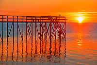 Pier at sunrise on Lake Winnipeg<br />