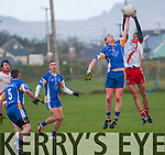 Keel Martin Burke and An Ghaeltacht Sean Micheal Ó Conchúir in a piece of fielding during the County League Div. 3 match at Gallarus on Sunday afternoon.