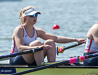 Brandenburg. GERMANY.<br /> GBR W4X, Jessica LEYDEN,  at the start of their heat at the 2016 European Rowing Championships at the Regattastrecke Beetzsee<br /> <br /> Friday  06/05/2016<br /> <br /> [Mandatory Credit; Peter SPURRIER/Intersport-images]