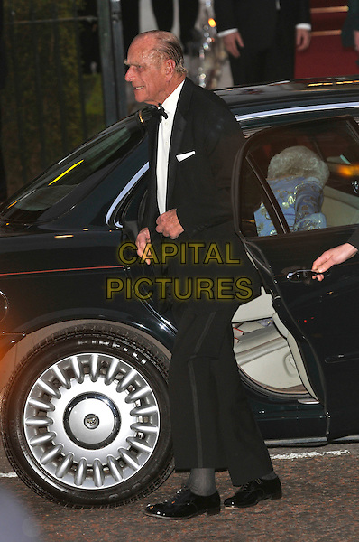 PRINCE PHILIP, DUKE OF EDINBURGH.Gala pre-wedding dinner held at the Mandarin Oriental Hyde Park, London, England. 28th April 2011 in London, England..royal royalty kate catherine middleton prince william full length black tuxedo car profile . CAP/PL.©Phil Loftus/Capital Pictures..