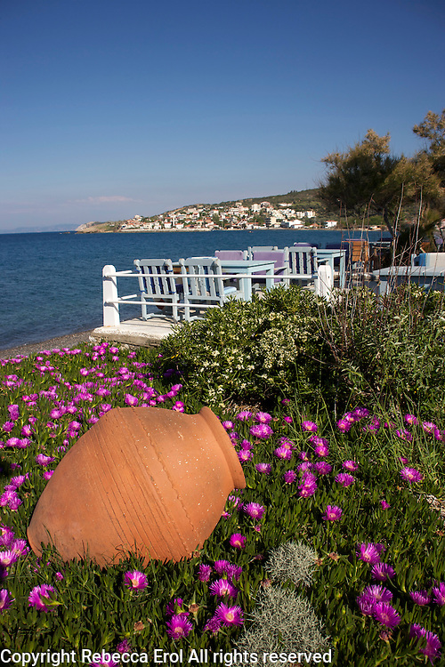 Lipsos Hotel (Ata'nin Yeri) with the town of Karaburun in the background, Karaburun Peninsula, Turkey