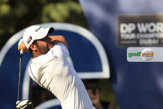 Adrian Otaegui (ESP) on the 16th tee during the final round of the DP World Tour Championship, Jumeirah Golf Estates, Dubai, United Arab Emirates. 18/11/2018<br /> Picture: Golffile | Fran Caffrey<br /> <br /> <br /> All photo usage must carry mandatory copyright credit (&copy; Golffile | Fran Caffrey)