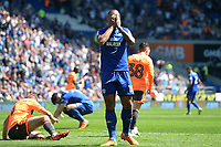 Cardiff City's Kenneth Zohore holds his head in his hands after missing his shot <br /> <br /> Photographer Ian Cook/CameraSport<br /> <br /> The EFL Sky Bet Championship - Cardiff City v Reading - Sunday 6th May 2018 - Cardiff City Stadium - Cardiff<br /> <br /> World Copyright &copy; 2018 CameraSport. All rights reserved. 43 Linden Ave. Countesthorpe. Leicester. England. LE8 5PG - Tel: +44 (0) 116 277 4147 - admin@camerasport.com - www.camerasport.com
