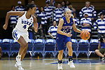 DURHAM, NC - NOVEMBER 26: Presbyterian's Cortney Storey (10) and Duke's Lexie Brown (4). The Duke University Blue Devils hosted the Presbyterian College Blue Hose on November 26, 2017 at Cameron Indoor Stadium in Durham, NC in a Division I women's college basketball game. Duke won the game 79-45.