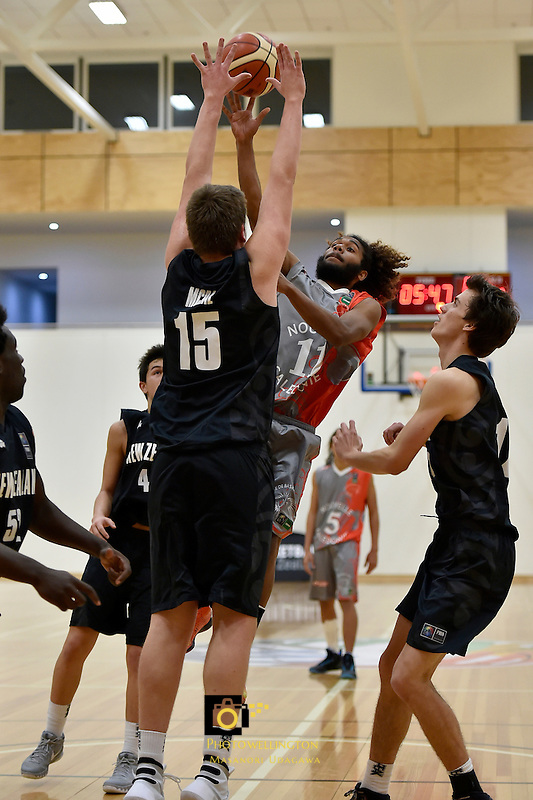 Action from the FIBA Oceania Under 16s Championship Tournament - New Caledonia v New Zealand at St Pat's Silverstream, Upper Hutt, New Zealand on Saturday 15 August 2015.<br /> Photo by Masanori Udagawa. <br /> www.photowellington.photoshelter.com.
