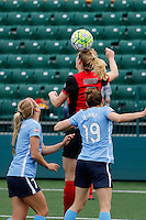 Rochester, NY - Saturday May 21, 2016: Western New York Flash midfielder Samantha Mewis (5) heads the ball. The Western New York Flash defeated Sky Blue FC 5-2 during a regular season National Women's Soccer League (NWSL) match at Sahlen's Stadium.