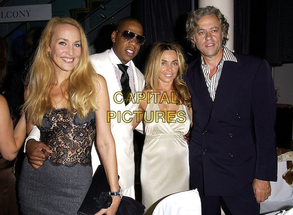 JERRY HALL, JAY-Z, JEAN MARIE & BOB GELDOF.GQ Men of The Year Awards after party at The Royal Opera House, London..September 6th, 2005.half length  grey gray dress white suit arm around waist black lace detail sunglasses shades silk satin dress blue suit.www.capitalpictures.com.sales@capitalpictures.com.© Capital Pictures.