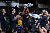 WINSTON-SALEM, NC - FEBRUARY 06: Mikayla Vaughn #30 of the University of Notre Dame waives a towel while encouraging her teammates during a game between Notre Dame and Wake Forest at Lawrence Joel Veterans Memorial Coliseum on February 06, 2020 in Winston-Salem, North Carolina.