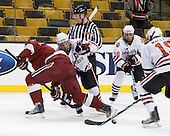 ?, Tyler McNeely (NU - 94), Kyle Kraemer (NU - 16) - The Northeastern University Huskies defeated the Harvard University Crimson 4-1 (EN) on Monday, February 8, 2010, at the TD Garden in Boston, Massachusetts, in the 2010 Beanpot consolation game.