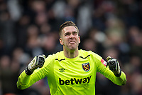 Goalkeeper Adrian of West Ham United celebrates at full time during the Premier League match between West Ham United and Chelsea at the Olympic Park, London, England on 9 December 2017. Photo by Andy Rowland.