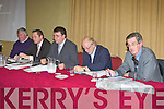 The top table at the Irish Farmers Association  AGM in the Manor West Hotel Tralee on Monday night l-r: Pat O'Shea Treasurer, William Shorthall Development officer, James McCarthy Chairman, John O'Sullivan Secretary and Dick Spring Guest Speaker