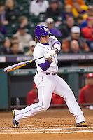 LSU Tigers catcher Kade Scivicque (22) swings the bat during the NCAA baseball game against the Houston Cougars on March 6, 2015 at Minute Maid Park in Houston, Texas. LSU defeated Houston 4-2. (Andrew Woolley/Four Seam Images)