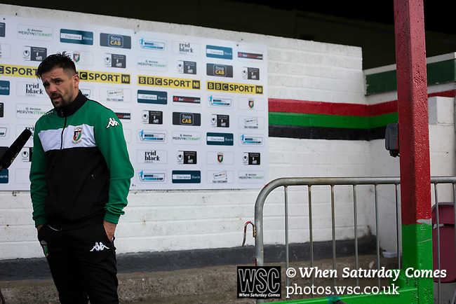 Glentoran 2 Cliftonville 1, 22/10/2016. The Oval, NIFL Premiership. Home striker Nacho Novo pictured during a television interview on the pitch at The Oval, Belfast after Glentoran hosted city-rivals Cliftonville in an NIFL Premiership match. Glentoran, formed in 1892, have been based at The Oval since their formation and are historically one of Northern Ireland's 'big two' football clubs. They had an unprecendentally bad start to the 2016-17 league campaign, but came from behind to win this fixture 2-1, watched by a crowd of 1872. Photo by Colin McPherson.