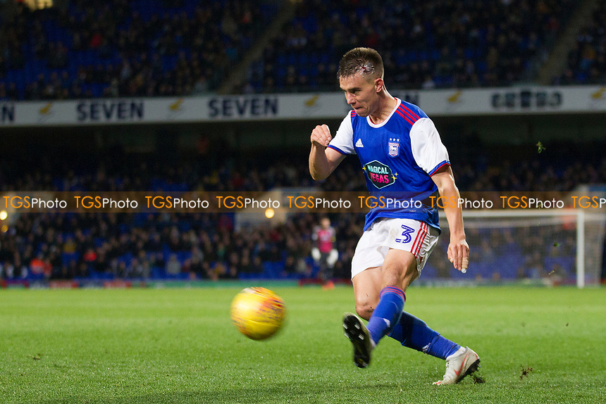 Jonas Knudsen of Ipswich Town crosses the ball in during the latter stages during Ipswich Town vs Preston North End, Sky Bet EFL Championship Football at Portman Road on 3rd November 2018