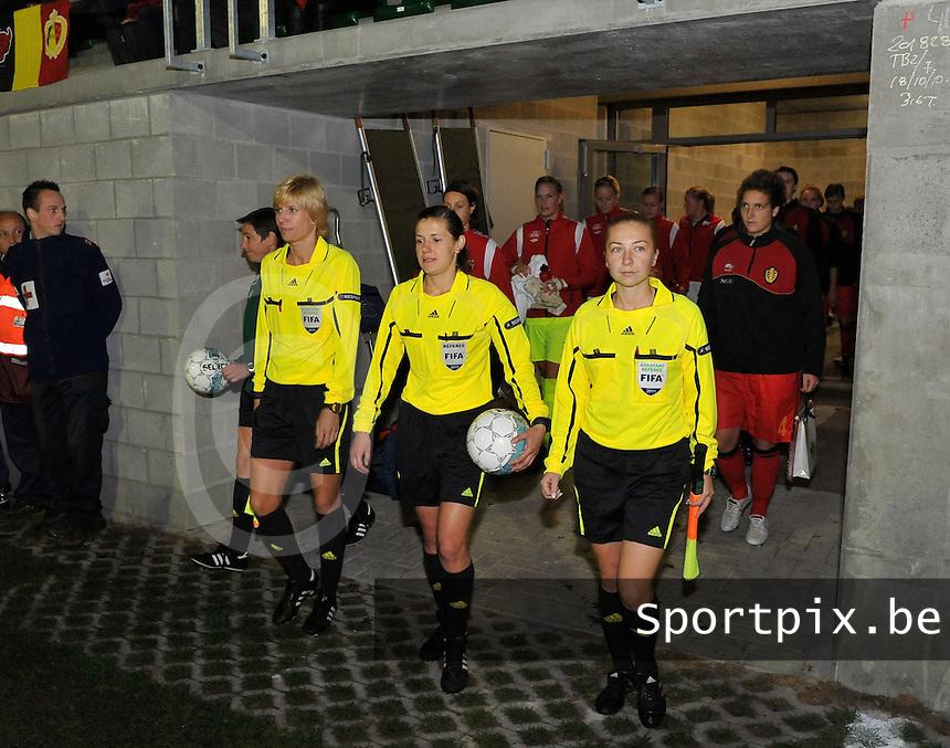 UEFA Women's Euro Qualifying group stage (Group 3) -  KFC Dessel - Armand Melis Stadion : BELGIUM - NORWAY ( Belgie - Noorwegen) : Kateryna Monzul (UKR) , Natalia Rachynska (UKR), Yana Sashchyna (UKR)..foto DAVID CATRY / Vrouwenteam.be / Loft6.be